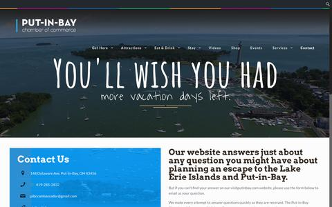 Screenshot of Contact Page visitputinbay.com - Contact | Put-in-Bay Chamber of Commerce & Visitors Bureau - captured Oct. 21, 2018