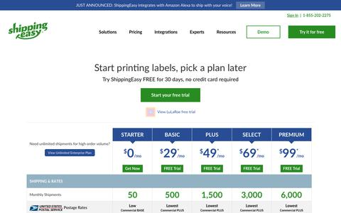 Screenshot of Pricing Page shippingeasy.com - ShippingEasy Pricing and Plans | Shipping Software for Online Sellers - captured Oct. 9, 2018