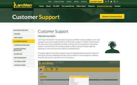 Screenshot of Support Page ilandman.com - Our Customer Support Team is Ready and Waiting to Help - captured Oct. 29, 2014