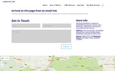 Screenshot of Contact Page workingfeedback.co.uk - Contact Us - Working Feedback - captured Feb. 24, 2016