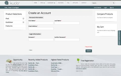 Screenshot of Signup Page kudocase.com - Create New Customer Account - captured Sept. 30, 2014