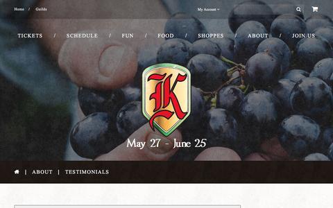 Screenshot of Testimonials Page renfestcorona.com - Testimonials  |  Koroneburg Renaissance Festival - captured April 4, 2017