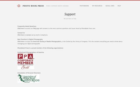 Screenshot of Support Page photobookpress.com - Photobook Press | Fine Custom Photo Books - captured Oct. 28, 2014