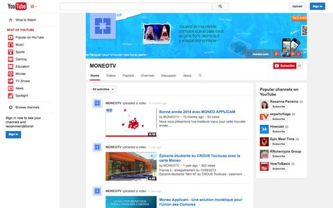 Screenshot of YouTube Page youtube.com - MONEOTV  - YouTube - captured Oct. 26, 2014