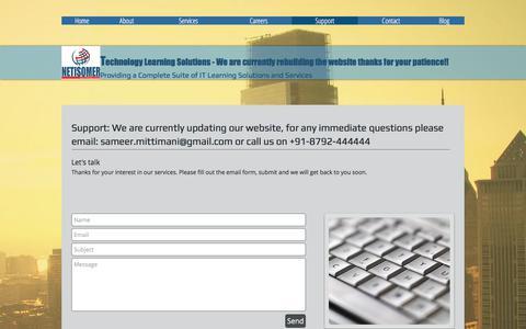 Screenshot of Support Page netisomer.com - Cisco ACI Training, Data Center Training, CCIE Data Center, OpenStack | Support - captured June 12, 2017