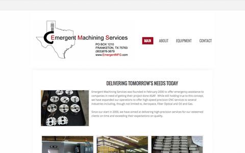 Screenshot of Home Page emergentmfg.com - Emergent Machining Services - Welcome - captured Oct. 2, 2014