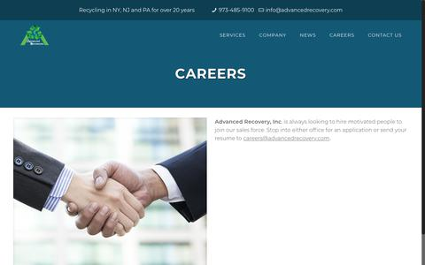 Screenshot of Jobs Page advancedrecovery.com - CAREERS - Advanced Recovery - captured Oct. 3, 2018