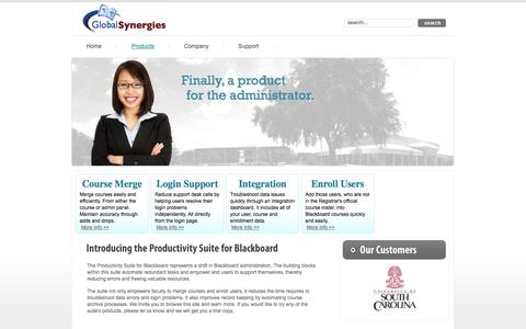 Screenshot of Products Page globalsynergies.com - Products | Global Synergies - captured Sept. 30, 2014