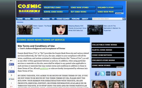 Screenshot of Terms Page cosmicbooknews.com - Cosmic Book News Terms Of Service - Cosmic Book News - captured Sept. 19, 2014