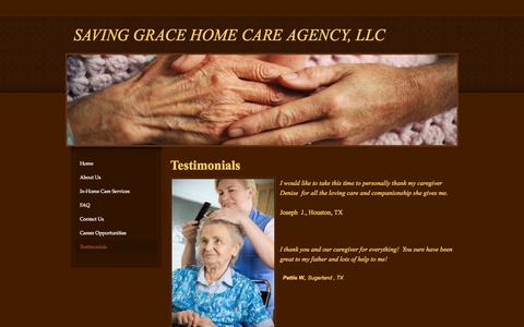 Screenshot of Testimonials Page savinggracehomecare.com - Testimonials - SAVING GRACE HOME CARE AGENCY, LLC - captured Oct. 4, 2014