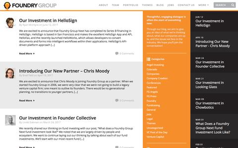 Screenshot of Blog foundrygroup.com - Blog | Foundry Group | Foundry Group - captured June 16, 2017