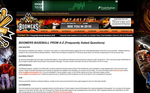 Screenshot of FAQ Page boomersbaseball.com - Contact Us - Frequently Asked Questions (A-Z) - Official Site of the Schaumburg Boomers - captured Sept. 22, 2014