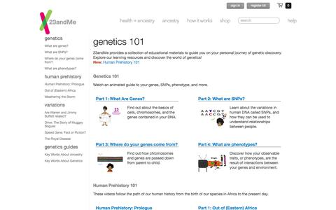 23andMe   - Genetics 101 - Learn about DNA
