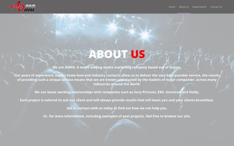 Screenshot of About Page admg.tv - About Us | A world leading media marketing company - captured Nov. 1, 2014