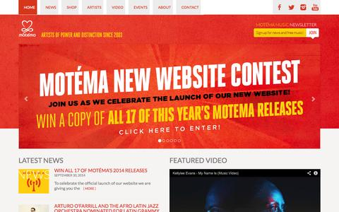 Screenshot of Home Page motema.com - MOTEMA - ARTISTS OF POWER AND DISTINCTION SINCE 2003 - captured Oct. 7, 2014
