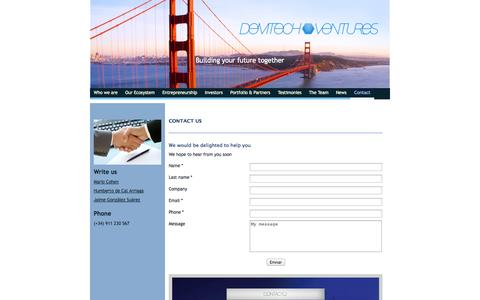 Screenshot of Contact Page demtechventures.com - Contacto - captured Sept. 30, 2014