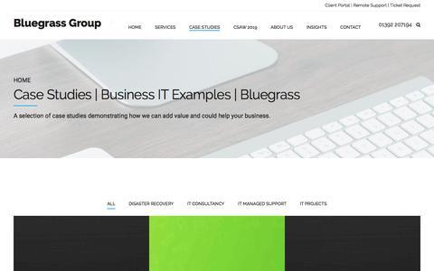 Screenshot of Case Studies Page bluegrass-group.com - Case Studies | Business IT Examples | Bluegrass - captured Aug. 27, 2019