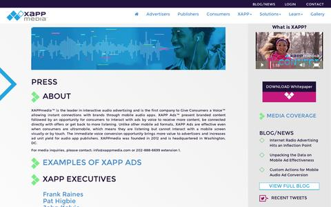Screenshot of Press Page xappmedia.com - Press | XAPP - captured Sept. 11, 2014