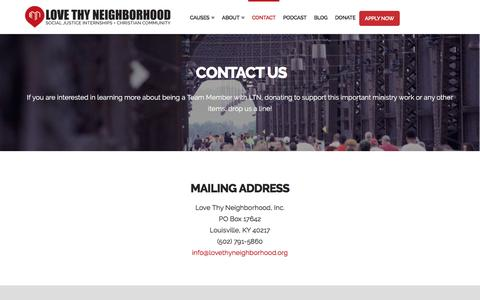 Screenshot of Contact Page lovethyneighborhood.org - Stay Connected with us and CONTACT US - Love Thy Neighborhood - captured May 23, 2017