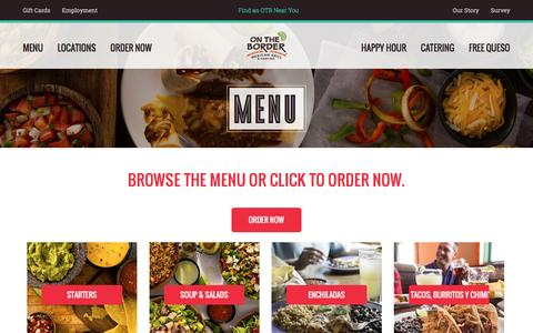 Screenshot of Menu Page ontheborder.com - On The Border - Mexican Food & Cantina | Menu - captured Dec. 4, 2016