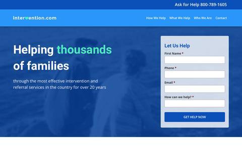 Screenshot of Home Page intervention.com - Family Intervention for Addiction – Intervention.com - captured Oct. 15, 2017