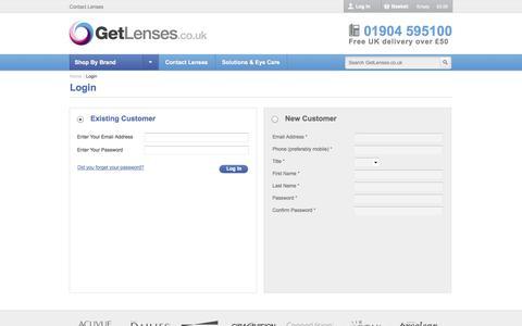 Screenshot of Login Page getlenses.co.uk - Customer Login | GetLenses - captured Nov. 2, 2014