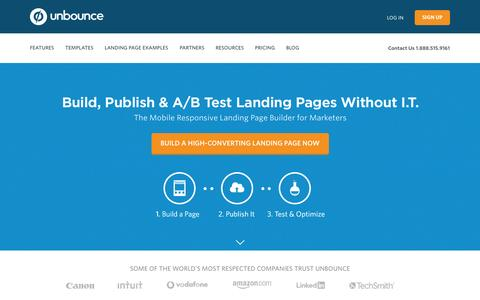 Screenshot of Home Page unbounce.com - Landing Pages: Build Publish & Test Without I.T. | Unbounce - captured Aug. 3, 2015