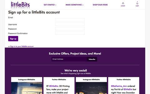 Screenshot of Signup Page littlebits.cc - littleBits - captured Sept. 16, 2014