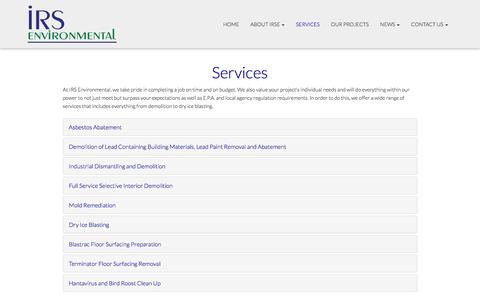 Screenshot of Services Page irsenviro.com - Services - Spokane, Seattle, Tri Cities | IRS Environmental - captured Nov. 18, 2016