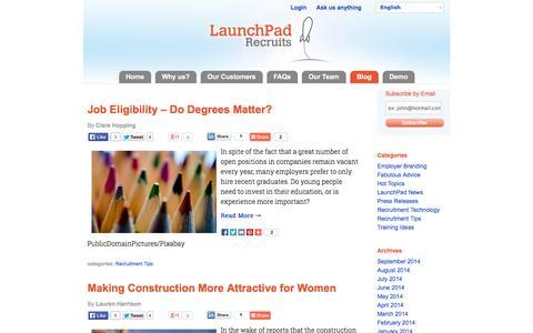 Screenshot of Blog launchpadrecruits.com - VideoInterviewing&CandidateHiring TipsforHRManagers-LaunchPad Recruits - captured Sept. 29, 2014
