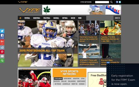 Screenshot of Home Page vype.com - VYPE – The Leader in High School Sports - captured Jan. 20, 2016