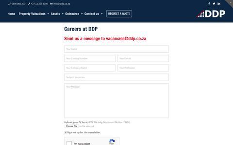 Screenshot of Jobs Page ddp.co.za - Careers Contact – DDP - captured May 6, 2017