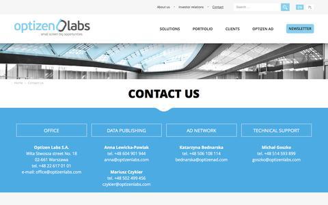 Screenshot of Contact Page optizenlabs.com - Contact Us | Optizen Labs - captured Dec. 4, 2015
