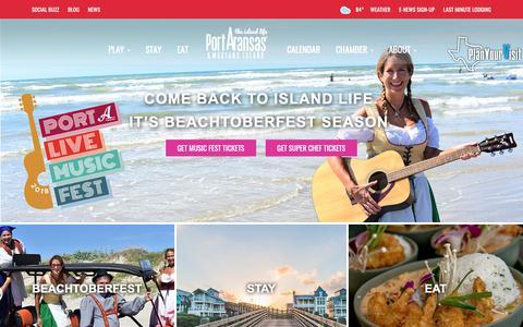Screenshot of Home Page portaransas.org - Visit Port Aransas & Mustang Island - a treasured destination - captured Sept. 28, 2018