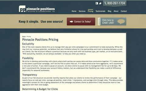 Screenshot of Pricing Page pinnaclepositions.com - Pinnacle Positions Pricing, PPC Management Price | Pinnacle Positions - captured July 18, 2018