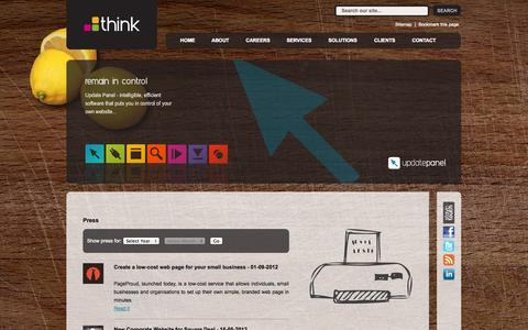 Screenshot of Press Page think.com.mt - Web Design Malta - Think - Press - captured Oct. 9, 2014