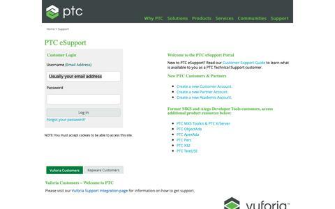 Screenshot of Support Page ptc.com - PTC.com: Log In - captured Nov. 13, 2018