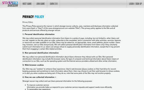 Screenshot of Privacy Page strangersoccer.com - Woodlands Futsal | Safra Tampines Futsal | Privacy Policy - Stranger Soccer - captured Aug. 15, 2016