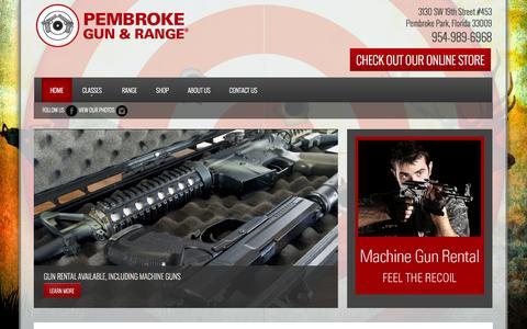 Screenshot of Home Page pembrokegunrange.com - Pembroke Gun & Range - South Florida Shooting Range - Gun Store, Firearms Training, Ammunition - captured Sept. 19, 2014