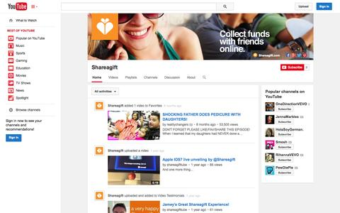 Screenshot of YouTube Page youtube.com - Shareagift  - YouTube - captured Oct. 25, 2014
