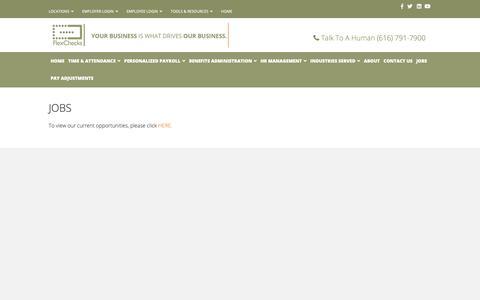 Screenshot of Jobs Page flexchecks.com - Jobs - Flex Checks - captured Oct. 10, 2018