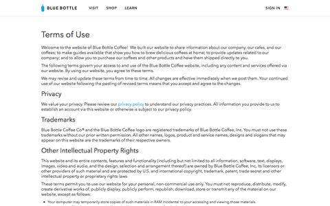 Screenshot of Terms Page bluebottlecoffee.com - Terms of Use | Blue Bottle Coffee - captured Aug. 9, 2016