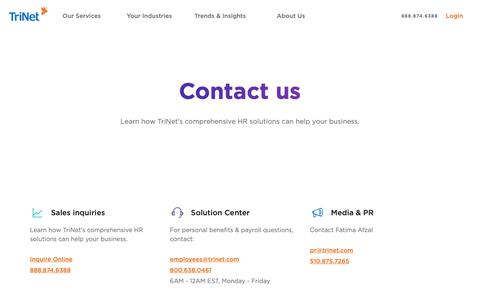 Screenshot of Contact Page trinet.com - Contact Us | Sales Offices | TriNet - captured Feb. 3, 2019