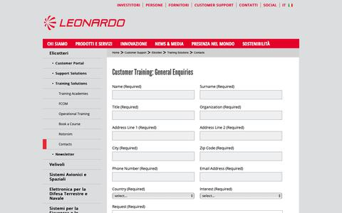 Screenshot of Support Page leonardocompany.com - Contacts - Leonardo - Aerospace, Defence and Security - captured Feb. 6, 2019