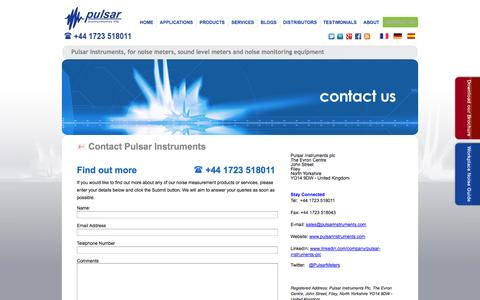 Screenshot of Contact Page pulsarinstruments.com - Contact - Pulsar Instruments - captured Oct. 10, 2014