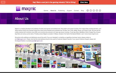 Screenshot of About Page magmic.com - About Us - Magmic - captured Sept. 23, 2014