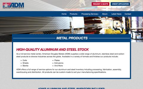 Screenshot of Products Page americandouglasmetals.com - Metal Products | American Douglas Metals - captured Feb. 6, 2016