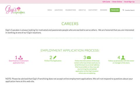 Screenshot of Jobs Page gigiscupcakesusa.com - Careers - Gigis Cupcakes - captured Sept. 17, 2016