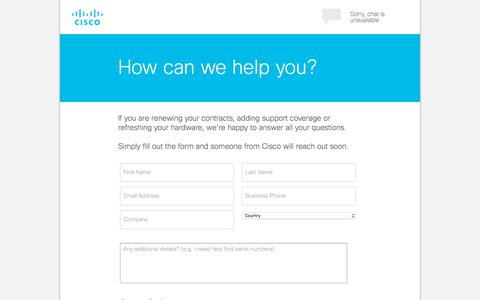 Screenshot of Landing Page cisco.com - How can we help you? - captured May 18, 2018