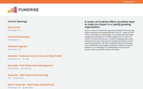 Screenshot of Jobs Page theresumator.com - Fundrise -         Job Board - captured Feb. 2, 2016
